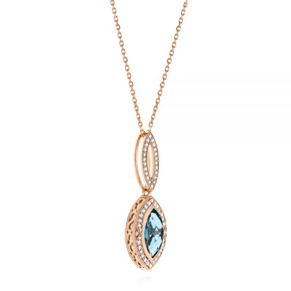 14k Rose Gold Marquise London Blue Topaz And Diamond Pendant - Flat View -  104993 - Thumbnail