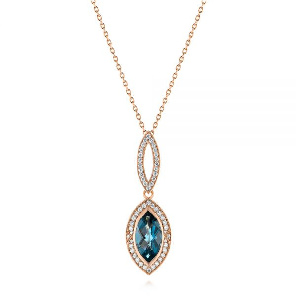14k Rose Gold Marquise London Blue Topaz And Diamond Pendant - Three-Quarter View -