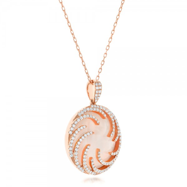 Rose Gold and Diamond Luna Fire Pendant - Flat View -  102492 - Thumbnail