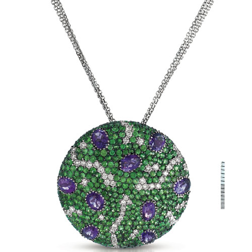 Micro-Pave Amethyst, Tsavorites and Diamonds Pendant - Vanna K - Laying View