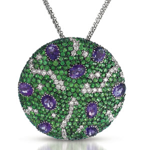 Micro-Pave Amethyst, Tsavorites and Diamonds Pendant - Vanna K