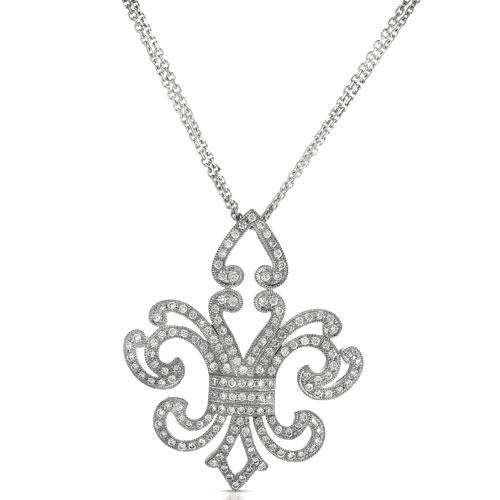 Micro-Pave Diamond Fleur De Lis Pendant - Vanna K - 3/4 View
