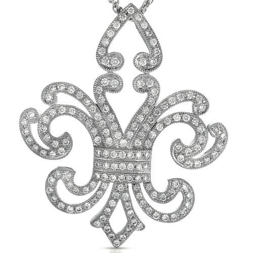 Micro-Pave Diamond Fleur De Lis Pendant - Vanna K - Laying View