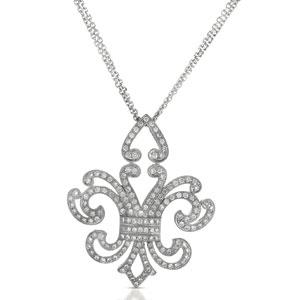 Micro-Pave Diamond Fleur De Lis Pendant - Vanna K