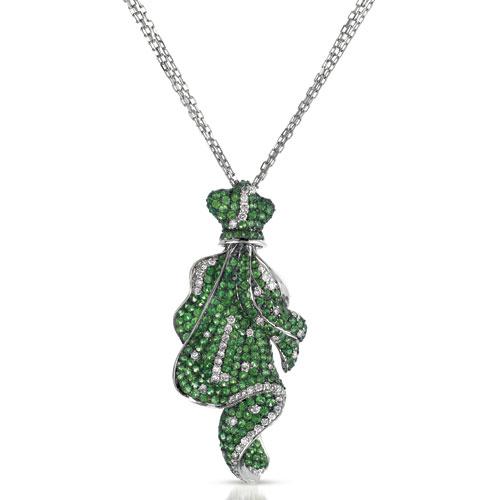 Micro-Pave Tsavorite and Diamond Pendant - Vanna K - 3/4 View