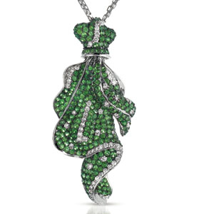 Micro-Pave Tsavorite and Diamond Pendant - Vanna K