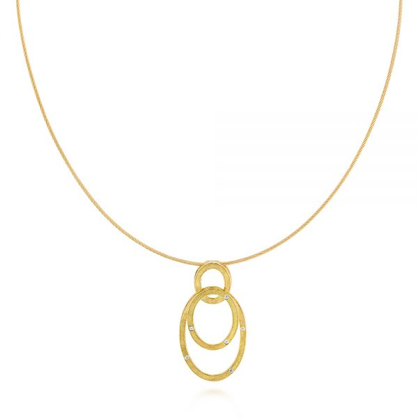 Modern Circle Diamond Necklace - Image
