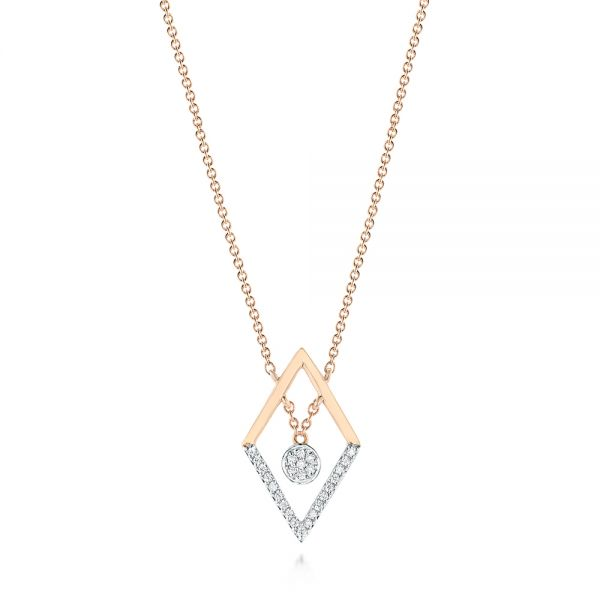14k Rose Gold Modern Geometric Diamond Necklace - Three-Quarter View -  103699