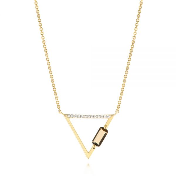 Modern Geometric Diamond and Smoky Quartz Necklace - Image
