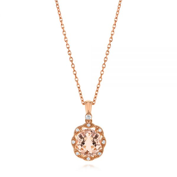 Morganite and Diamond Floral Halo Pendant - Image