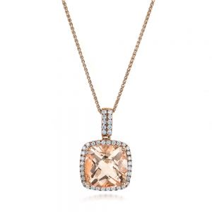 Morganite and Diamond Halo Pendant - Image