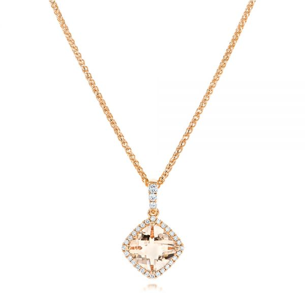 Morganite and Diamond Halo Pendant