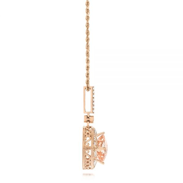 Morganite and Diamond Pendant - Side View -  103751 - Thumbnail