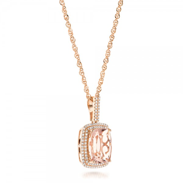 Morganite and Double Diamond Halo Pendant - Laying View