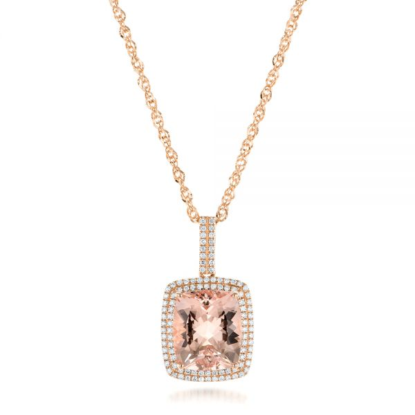 Morganite and Double Diamond Halo Pendant - Image