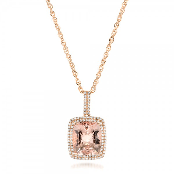 Morganite and Double Diamond Halo Pendant