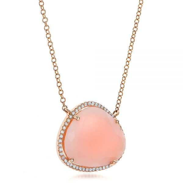 Natural Pink Opal And Diamond Halo Necklace - Flat View -