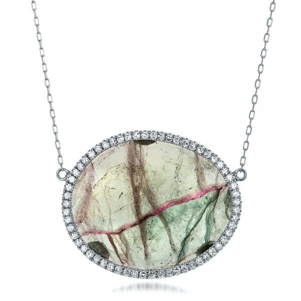 Natural Tourmaline Slice and Diamond Halo Necklace
