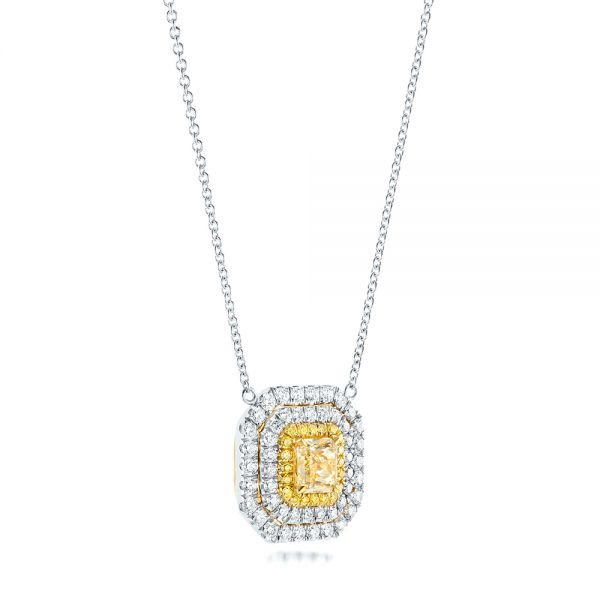 18K Gold And 18k White Gold Natural Yellow Diamond Pendant - Flat View -