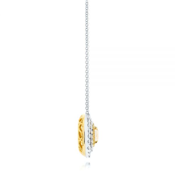 18K Gold And 18k White Gold Natural Yellow Diamond Pendant - Side View -