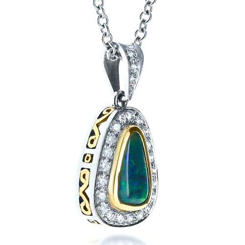 Opal and Diamond Pendant - 3/4 View