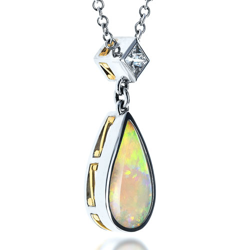 Opal and Diamond Pendant - Laying View