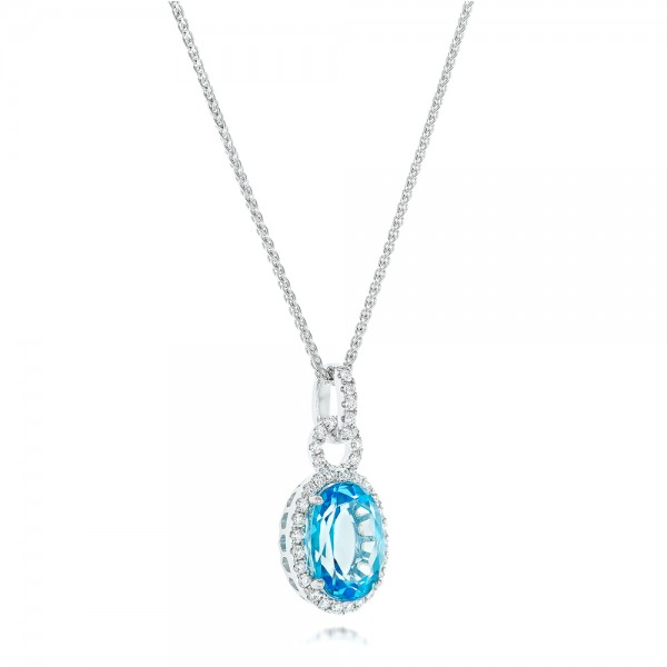Oval Blue Topaz and Diamond Halo Pendant - Laying View
