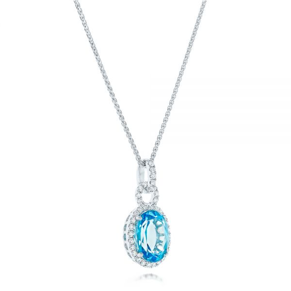Oval Blue Topaz And Diamond Halo Pendant - Flat View -