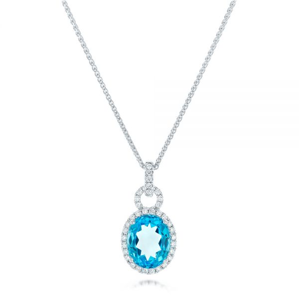 Oval Blue Topaz and Diamond Halo Pendant - Image