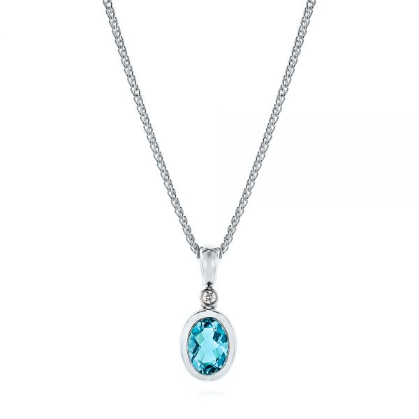 Oval Blue Topaz and Diamond Pendant - Image