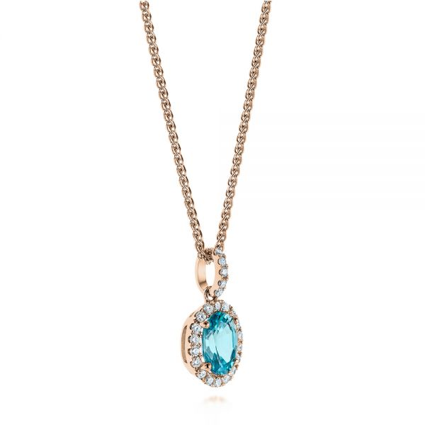14k Rose Gold 14k Rose Gold Oval Blue Zircon And Diamond Halo Pendant - Flat View -  105339 - Thumbnail