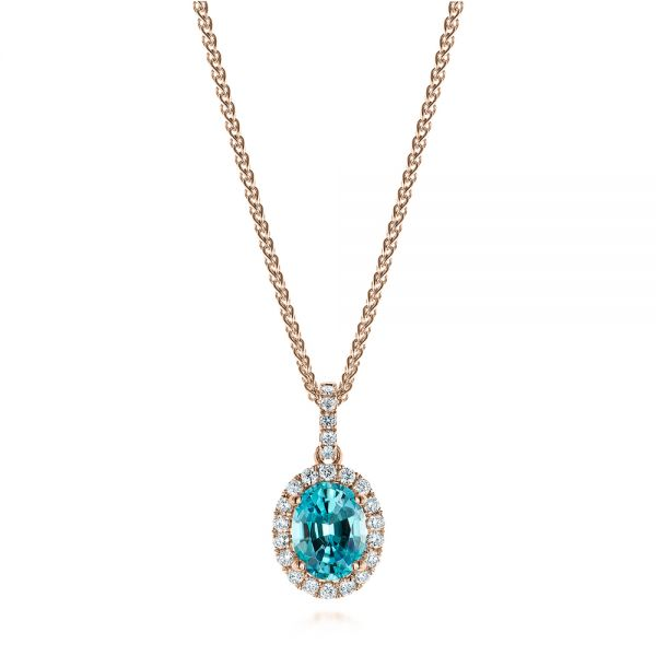 14k Rose Gold 14k Rose Gold Oval Blue Zircon And Diamond Halo Pendant - Three-Quarter View -  105339 - Thumbnail