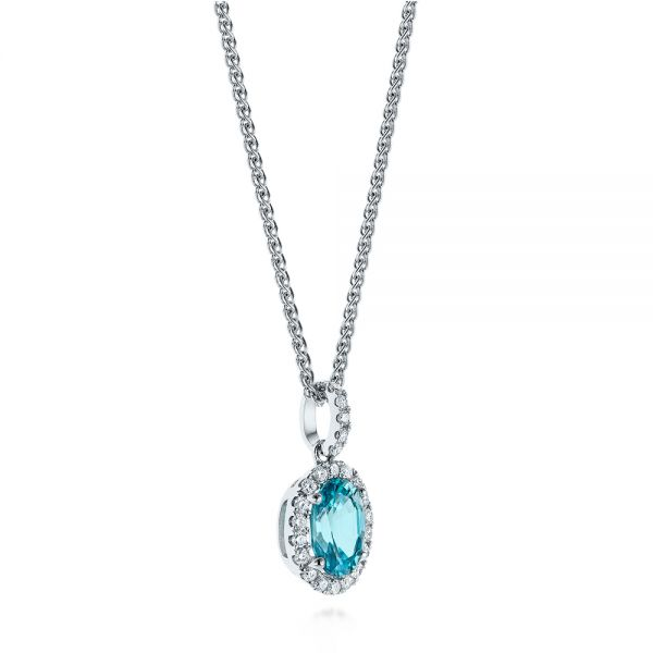 14k White Gold Oval Blue Zircon And Diamond Halo Pendant - Flat View -  105339