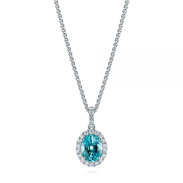 Oval Blue Zircon and Diamond Halo Pendant  - Image