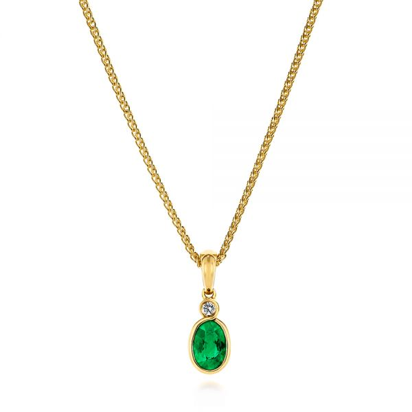Oval Emerald and Diamond Pendant - Image
