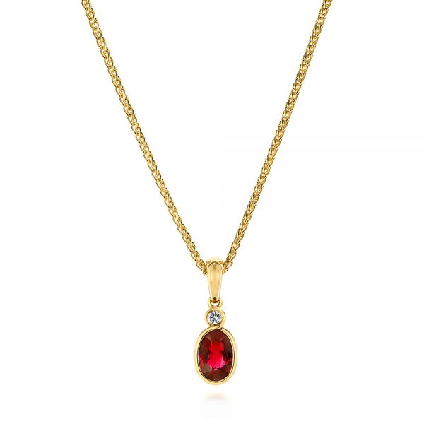 Oval Ruby and Diamond Pendant - Image