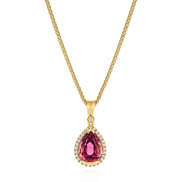 Pear Pink Tourmaline and Diamond Halo Pendant - Image