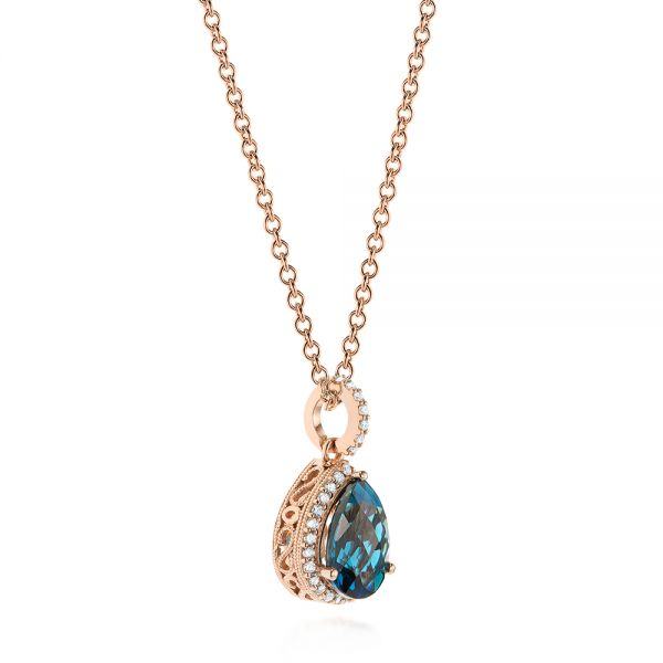 14k Rose Gold Pear Shaped London Blue Topaz And Diamond Pendant - Flat View -