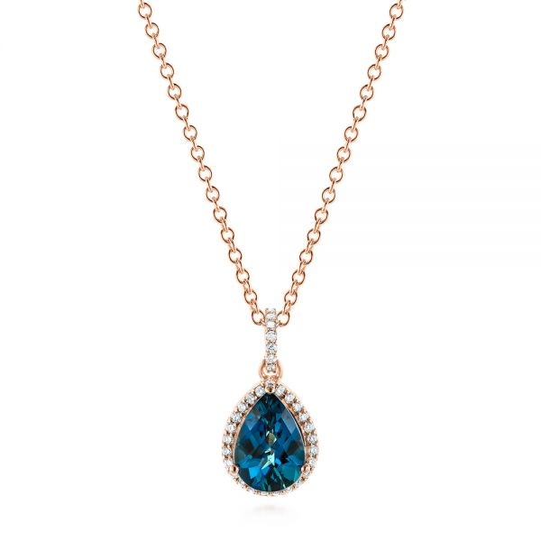 Pear Shaped London Blue Topaz and Diamond Pendant - Image
