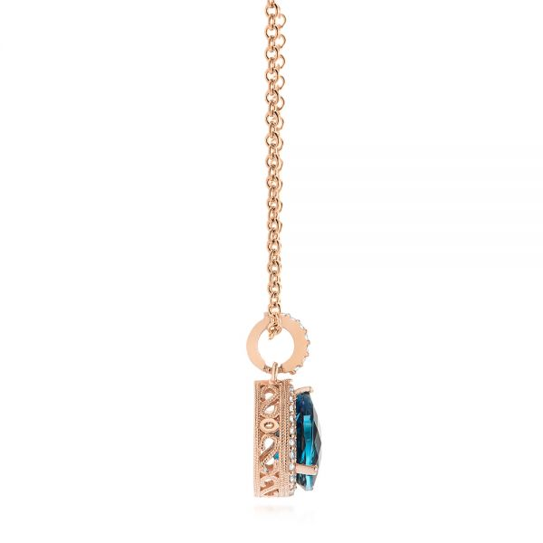 14k Rose Gold Pear Shaped London Blue Topaz And Diamond Pendant - Side View -