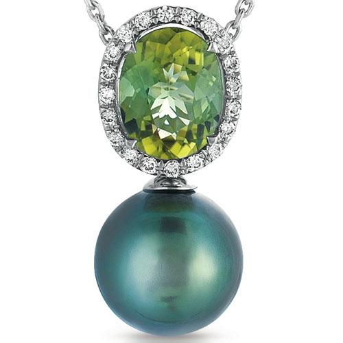 Pearl, Garnet and Diamond Pendant - Vanna K - Laying View