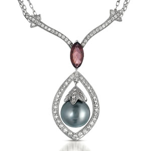 Pearl, Morganite and Diamond Pendant - Vanna K