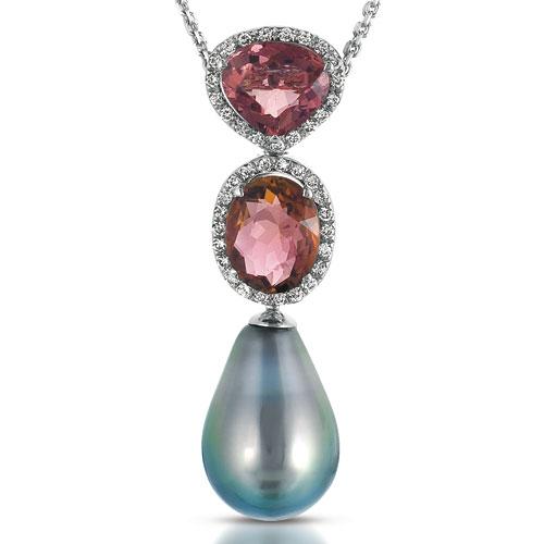 Pearl, Topaz, Tourmaline and Diamond Pendant - Vanna K - Laying View