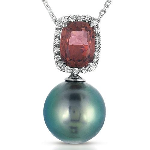 Pearl, Topaz and Diamond Pendant - Vanna K - Laying View