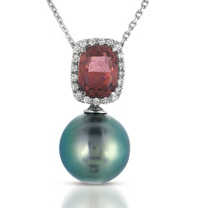 Pearl, Topaz and Diamond Pendant - Vanna K