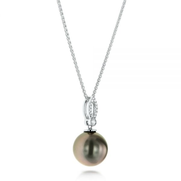 18k White Gold 18k White Gold Pearl And Diamond Necklace - Flat View -