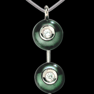 Pearl and Diamond Pendant - 3/4 View