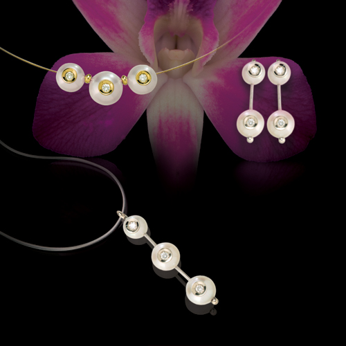 Pearl and Diamond Pendant - Laying View