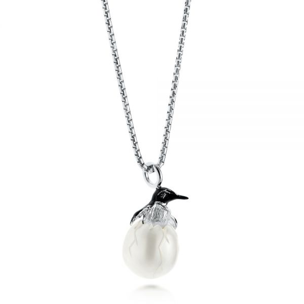Penguin Carved Fresh Water Pearl Pendant - Flat View -  103234