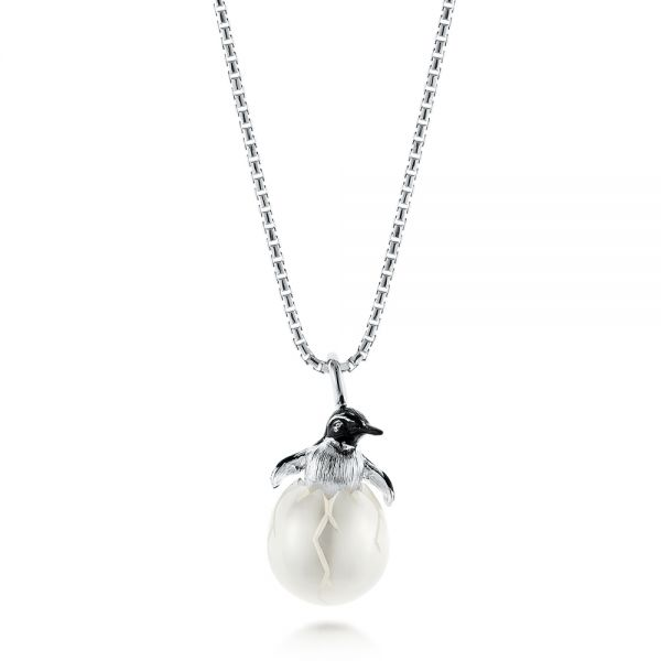 Penguin Carved Fresh Water Pearl Pendant - Image